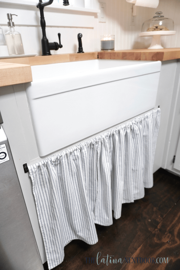 DIY Farmhouse Sink Skirt How to Sew A Farmhouse Appliance Cover