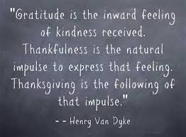 Gratitude and thankfullness