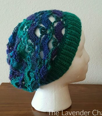 Gemstone Lace Sloucy Beanie - Free Crochet Pattern - The Lavender Chair