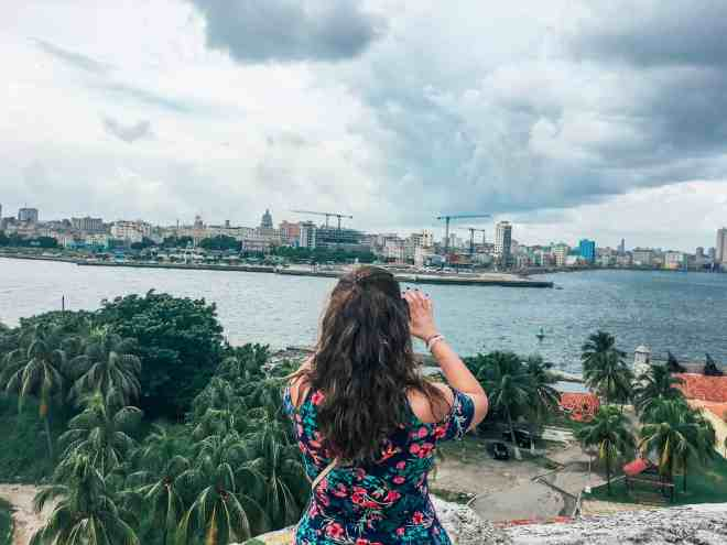 Cloudy view from a Morro Cabana in Havana Cuba - showing the city and the capitol