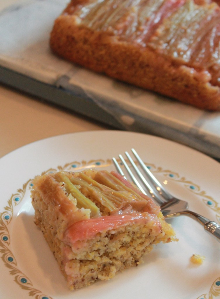 Rhubarb Upside-Down Cornbread | The Lazy Vegan Baker