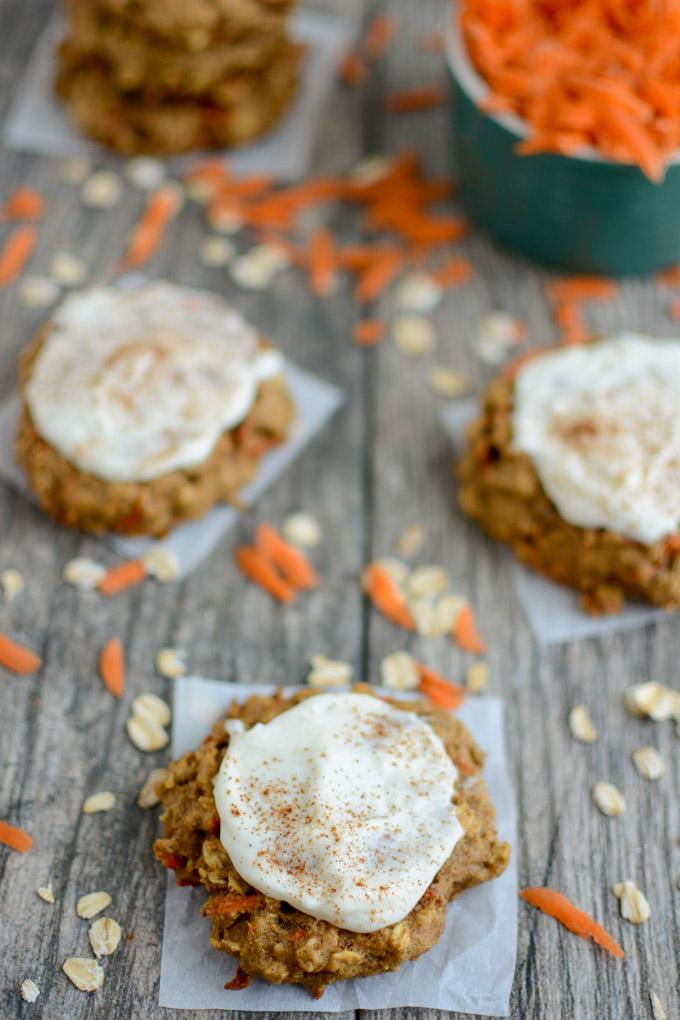 Frosted Carrot Cookies with cream cheese frosting