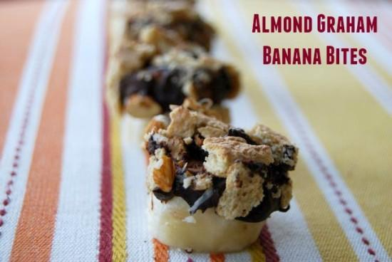 Banana slices dipped in chocolate and topped with almonds and graham crackers make a delicious, healthy, kid-friendly snack!