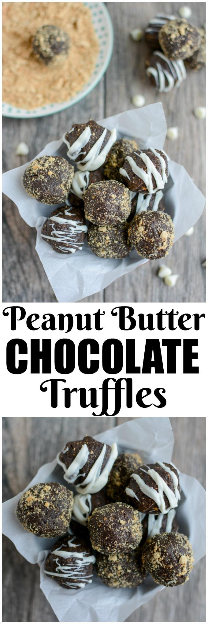 These Peanut Butter Chocolate Truffles are the perfect holiday dessert. Made with just four simple ingredients, they're easy to make and deliciously rich. Roll them in graham crackers or drizzle with chocolate to make them a little fancier!