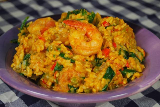 vegetable risotto with shrimp