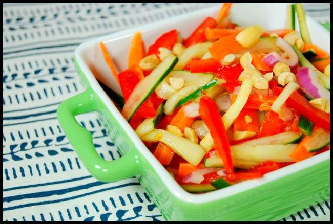 This Sweet and Spicy Cucumber Salad screams summer! A tasty way to add some veggies to your meal!