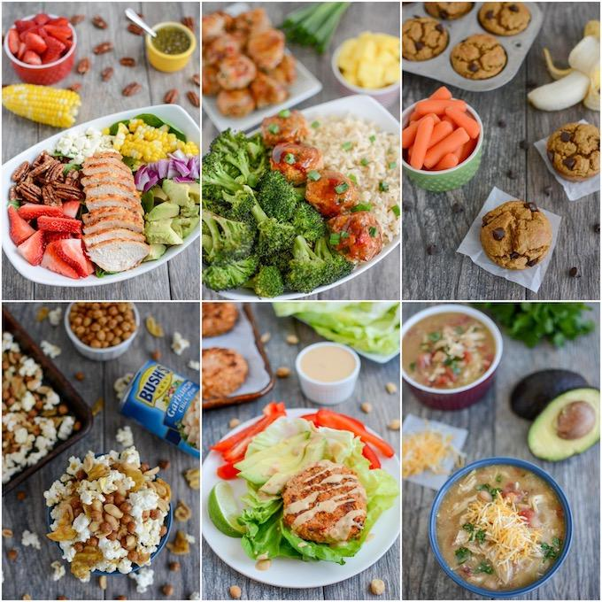 collage of six packable lunch ideas