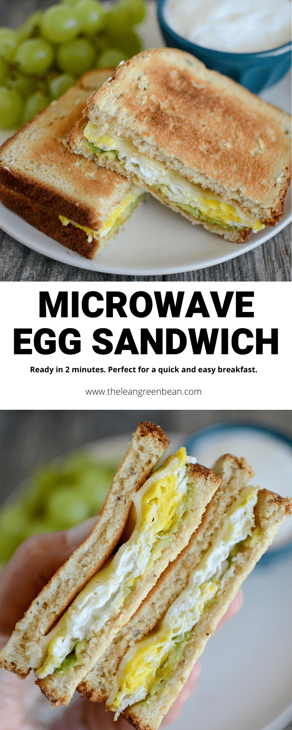 This Microwave Egg Sandwich is quick, easy and ready in 2 minutes making it the perfect breakfast or snack on a busy day.