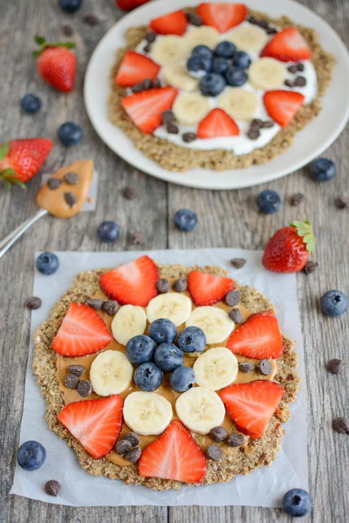 Fruit Pizza with an easy, vegan, oatmeal flax crust
