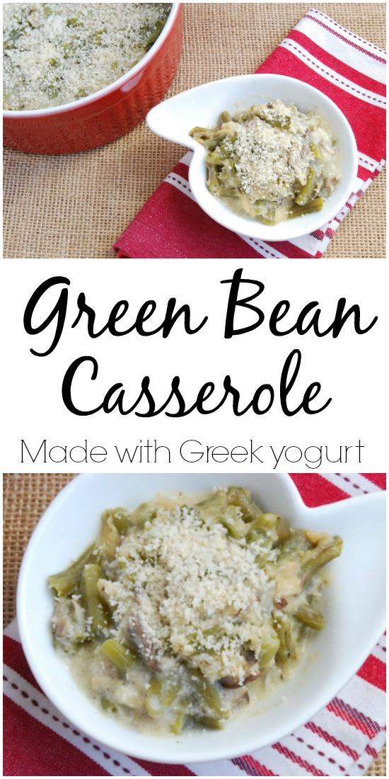 A lightened up Green Bean Casserole recipe made with Greek yogurt! The perfect side dish for Thanksgiving.