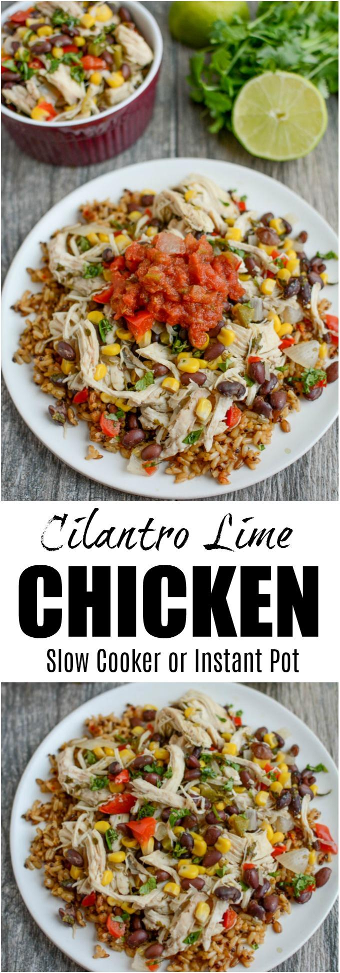 This Cilantro Lime Chicken is the perfect healthy dinner recipe and can be made in the slow cooker or the Instant Pot. Serve it over rice or as a filling for tacos. You can even prep it ahead of time and freeze until you need it.