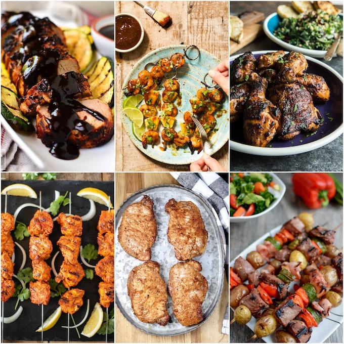 collage of six healthy grilling recipes