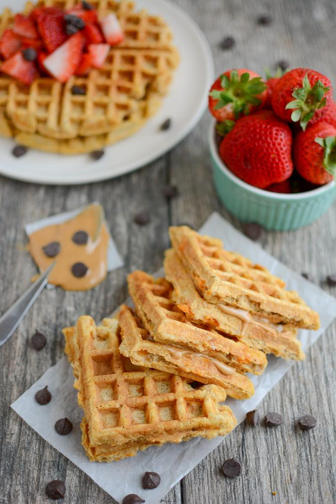 Sweet Potato Waffles with chocolate chips and fresh strawberries