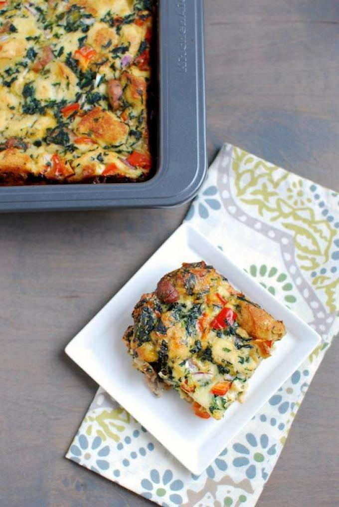 This Sausage and Vegetable Egg Bake is a healthy breakfast idea that you can prep ahead of time and eat it all week long.