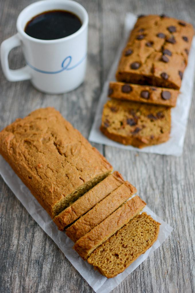 Two loaves of easy pumpkin bread with a cup of coffee