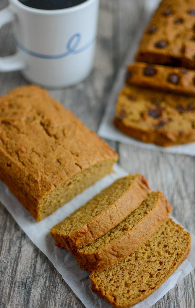 Easy Pumpkin Bread - two mini loaves, on with chocolate chips