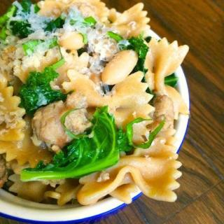 Bowtie Pasta with Sausage, White Beans and Kale