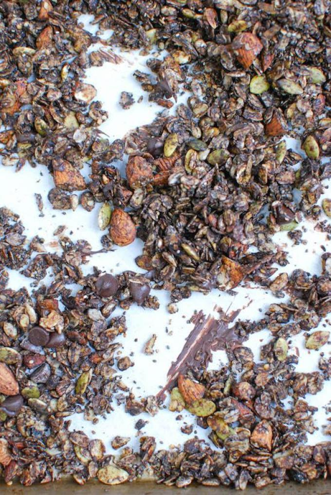 This Double Chocolate Granola is packed with nuts and seeds, tossed with coconut oil and lightly sweetened with honey.