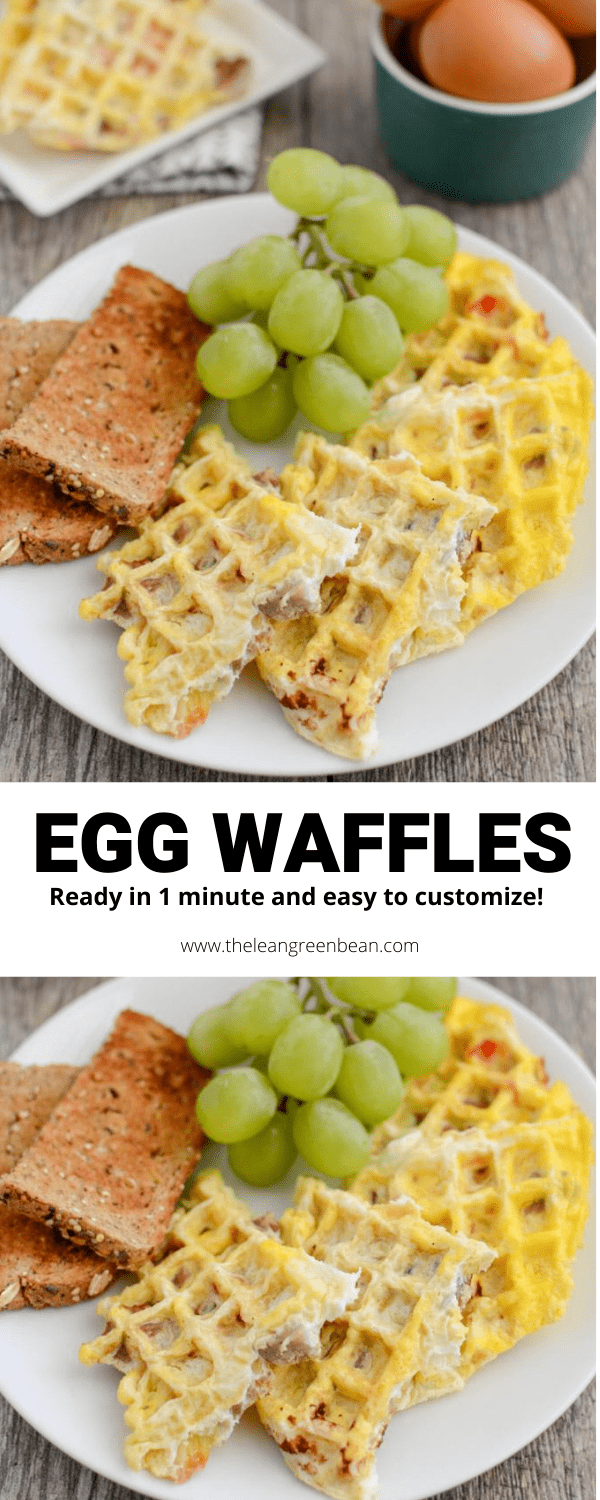 These Egg Waffles are ready in one minute and easy to customize. After trying them you'll never want to cook eggs in a pan again! A quick & easy, healthy breakfast!
