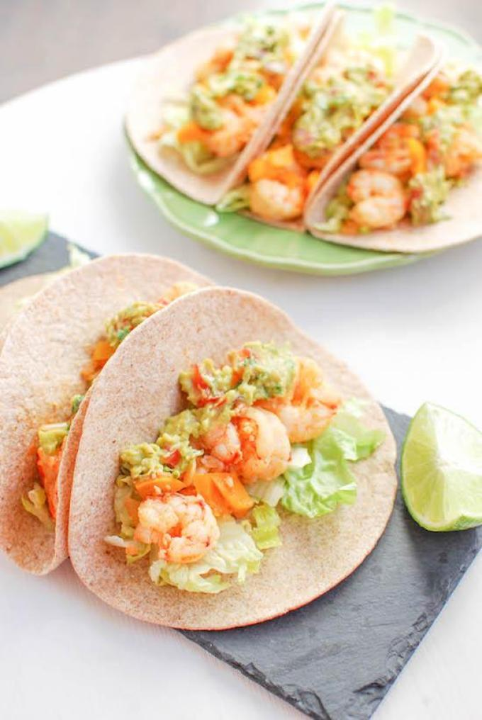Slightly sweet and full of spice, these Spicy Shrimp Tacos are ready in 15 minutes!