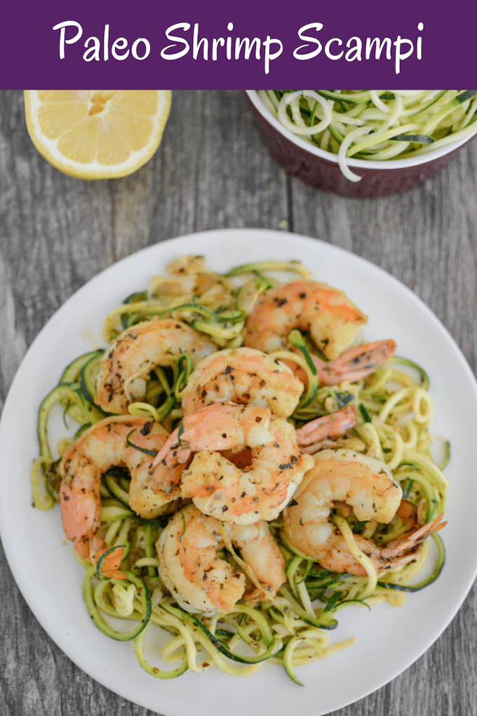 This Paleo Shrimp Scampi is made with just five ingredients and is ready in 15 minutes. Light and refreshing, it's the perfect summer dinner!