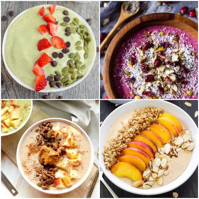 collage of 4 smoothie bowls