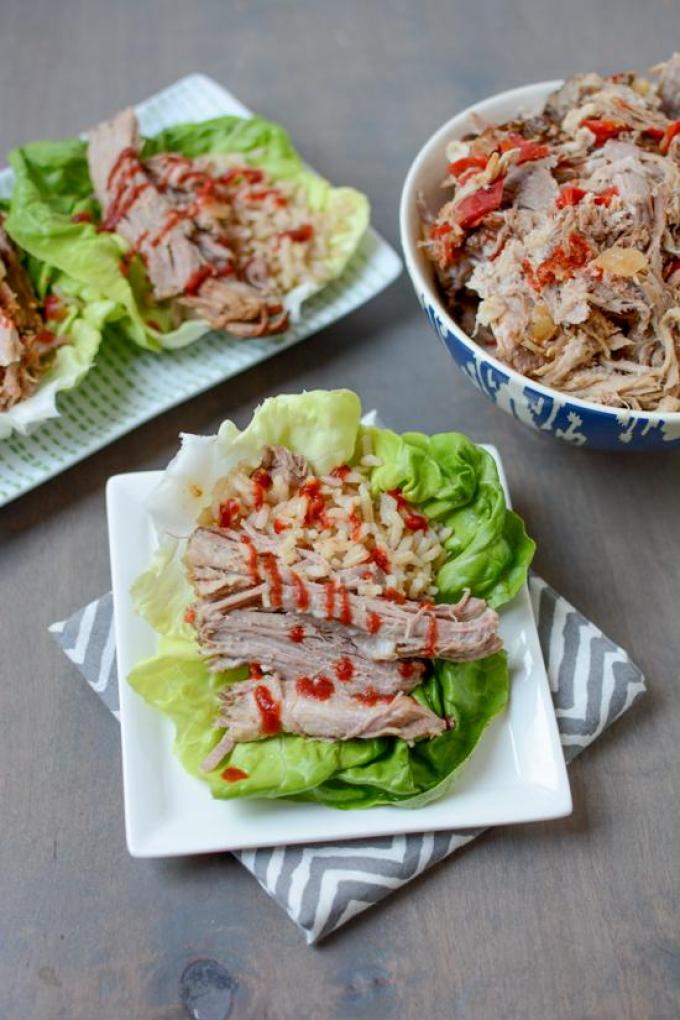 Serve this Slow Cooker Asian Pulled Pork in lettuce wraps with rice for a quick dinner!