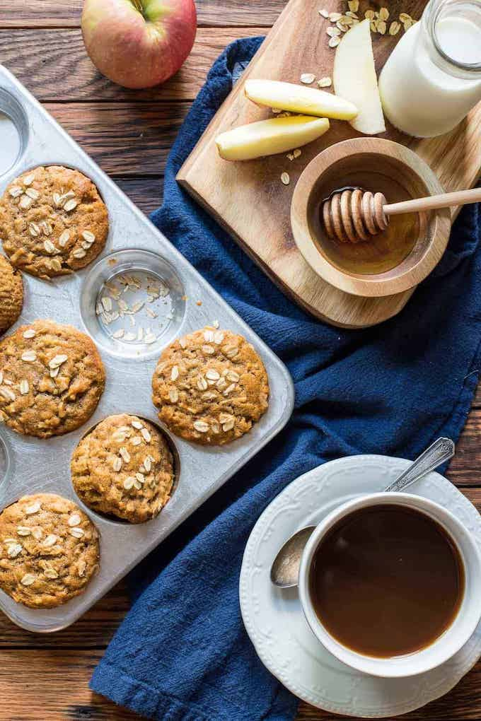 Honey Apple Oatmeal Muffins
