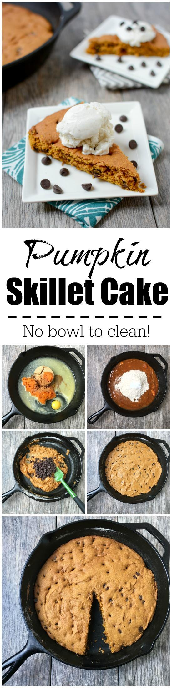 No mixing bowl required for this Pumpkin Skillet Cake! You can make the whole thing right in the skillet. Light, fluffy and easy to make, it's the perfect fall dessert recipe!