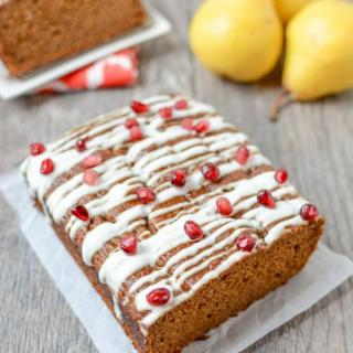 This recipe for Pear Gingerbread is perfectly spiced and full of flavor. Enjoy a slice for an afternoon snack or top with some ice cream for a holiday dessert.