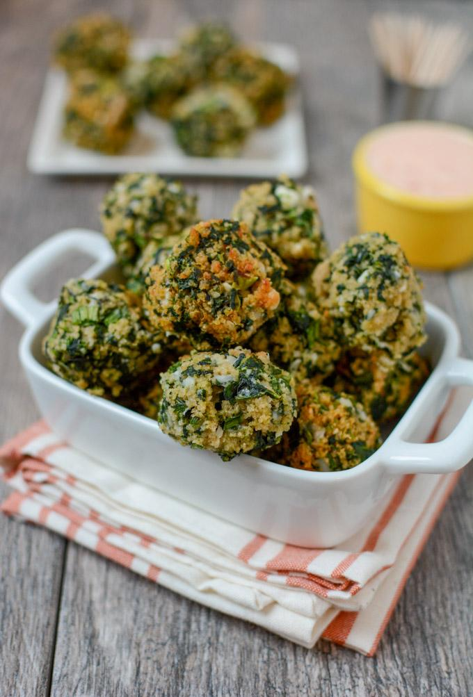 These Easy Spinach Balls are a perfect party appetizer. Prep the recipe ahead of time for easy entertaining or serve them as a kid-friendly vegetable option at dinner!