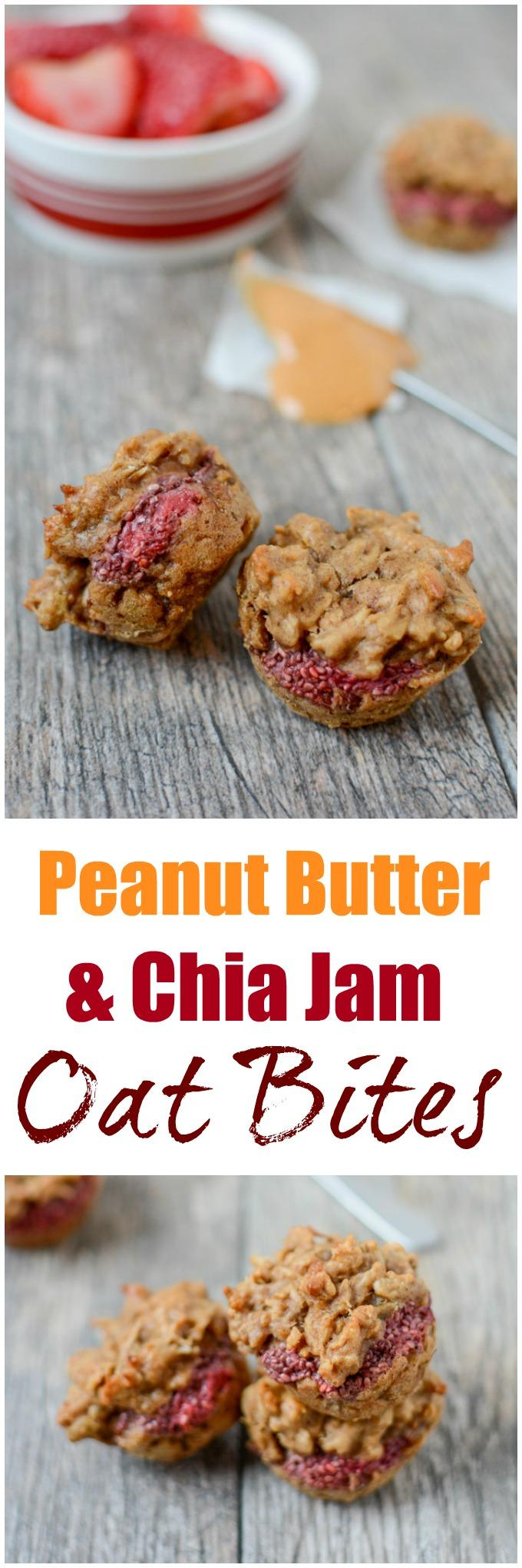 This gluten-free recipe for Peanut Butter and Chia Jam Oat Bites is a fun twist on your favorite childhood sandwich! Perfect for breakfast or a grab-and-go snack.