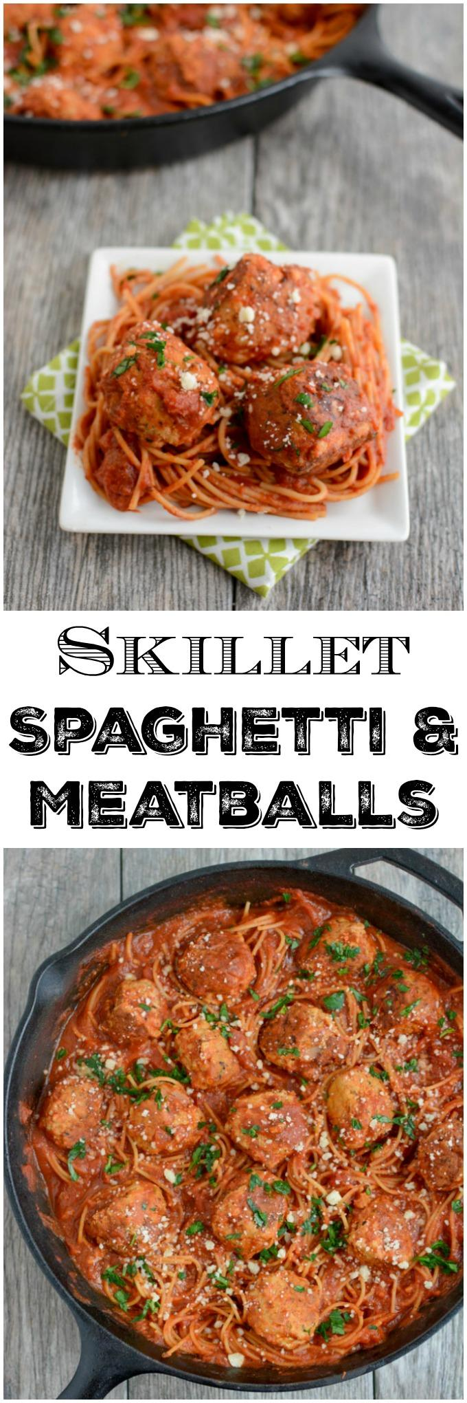 You only need one pan to make this recipe for Skillet Spaghetti and Meatballs because the spaghetti cooks right in the sauce! Your weeknight dinner just got even easier!