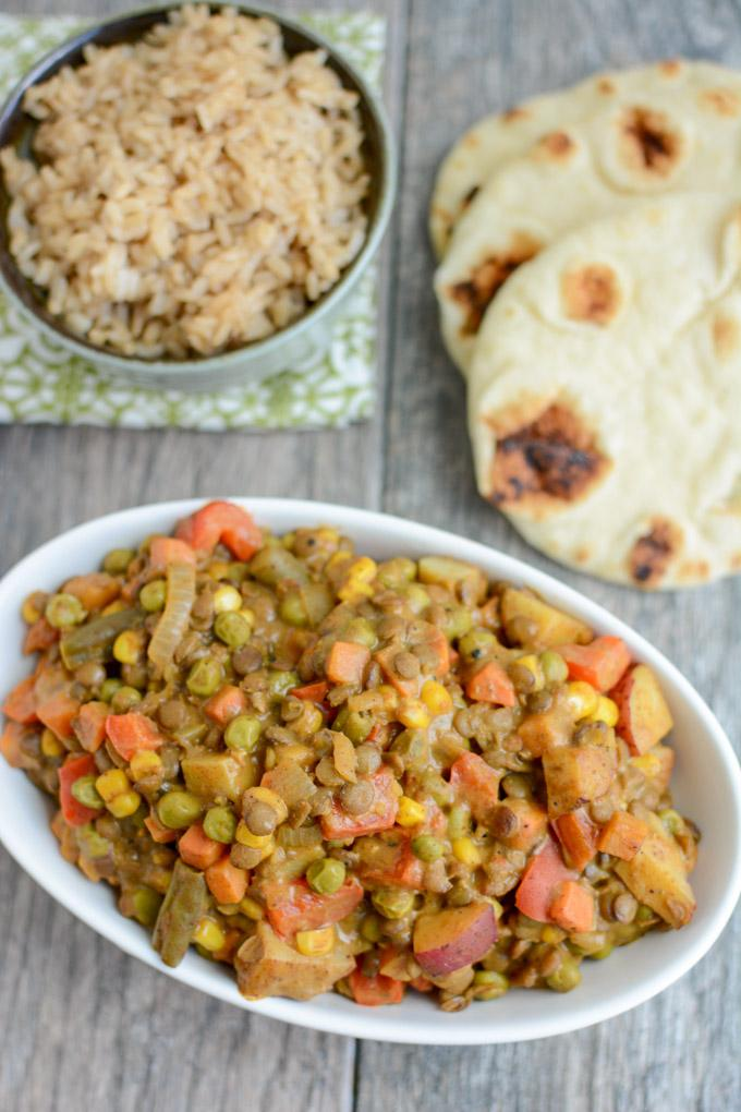 This Lentil Vegetable Curry is an easy vegetarian recipe that's perfect for a busy weeknight. Or make it ahead of time and reheat for a quick lunch or dinner!