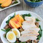 Warm Spinach Bacon Salad with Chicken