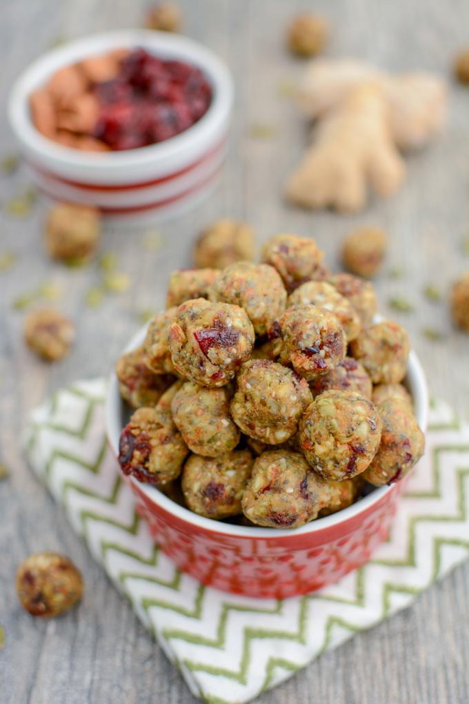 These Cranberry Ginger Energy Bites are the perfect healthy snack to power you through until lunch or dinner! Make them mini and enjoy a few when you need an energy boost!