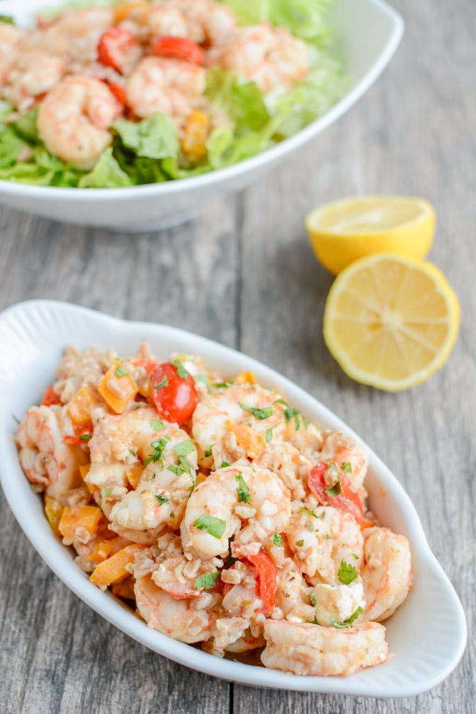 This recipe for Greek Shrimp and Farro is perfect for a quick, healthy dinner. Loaded with flavor, it's easy to make and tastes great warm or cold!