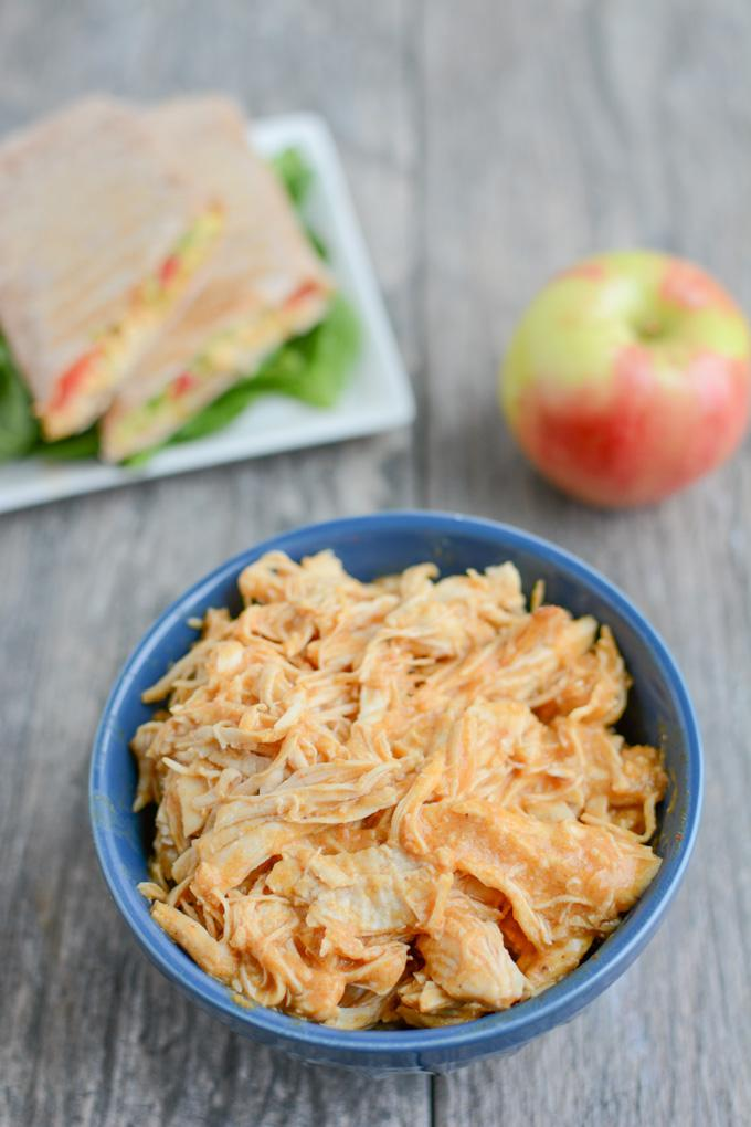 This Instant Pot Shredded Hummus Chicken is a simple, healthy recipe that can be made during food prep and served alone or in a wrap for a quick lunch or dinner.
