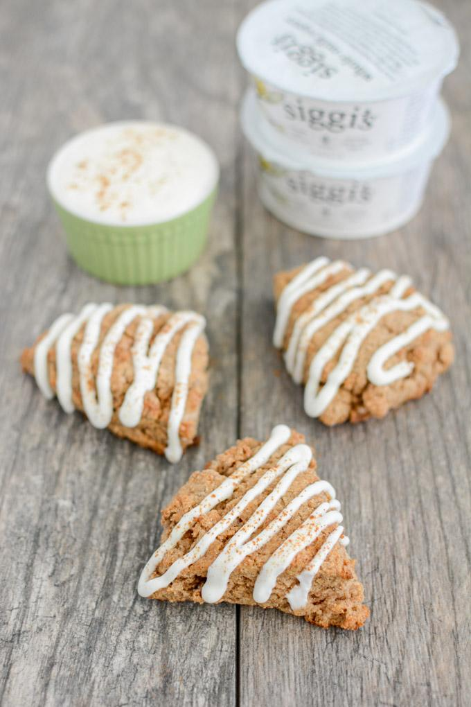 These Small Batch Cinnamon Roll Scones are perfect for a weekend breakfast or brunch. They're bursting with cinnamon flavor and topped with a delicious yogurt drizzle.