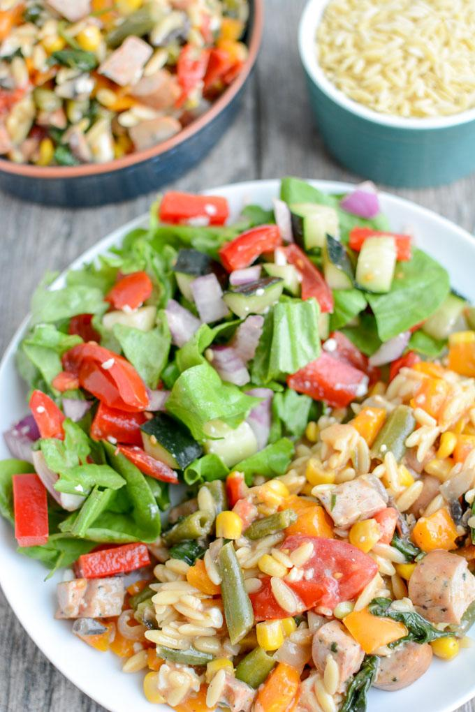 This one pot Orzo Pasta Salad with Chicken Sausage is perfect for BBQs, potlucks, and parties. Serve it as a side dish or a light lunch or dinner.