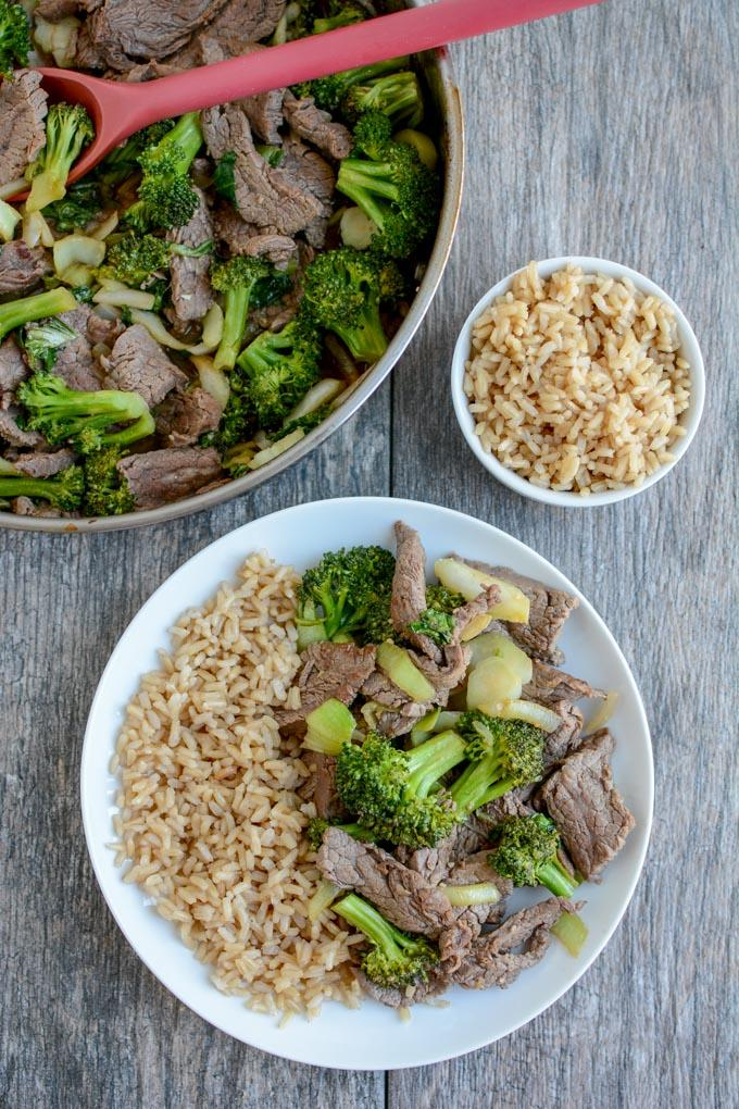 Include this Asian Flank Steak in your next food prep session. Marinate overnight and use it for this 15-minute beef and broccoli dinner or grill it and enjoy the leftovers for lunch.