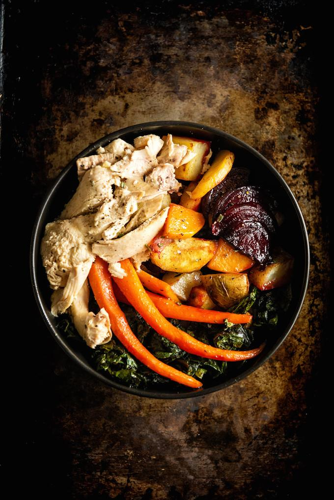 roasted roots and chicken power bowl