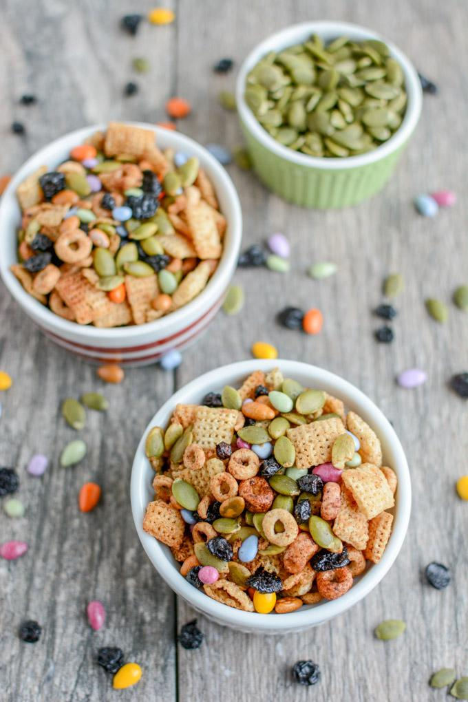This Nut-Free Toddler Trail Mix is the perfect make-ahead snack. Make a batch during your food prep session and portion into bags for kids to eat throughout the week.
