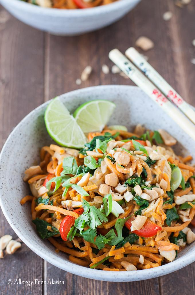thai chicken and sweet potato noodle bowls