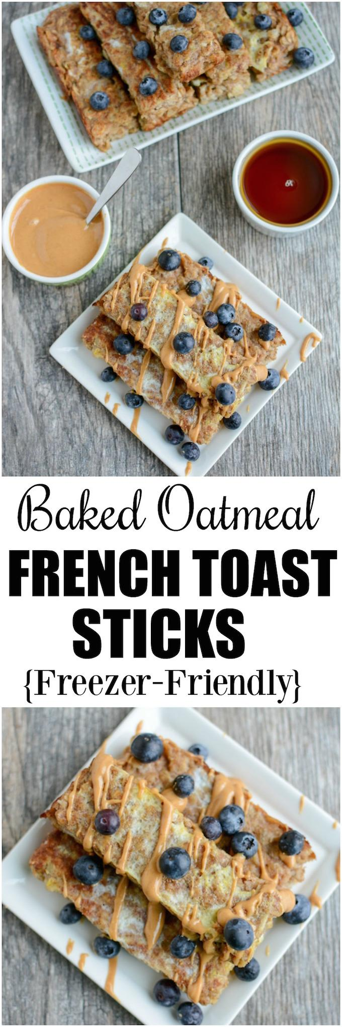 These Banana Baked Oatmeal French Toast Sticks are a healthy, gluten-free, kid-friendly breakfast recipe. They can even be made ahead of time, stored in the freezer and reheated in the microwave!