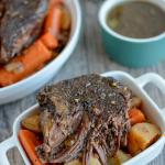 This Slow Cooker Balsamic Pot Roast is an easy, healthy dinner option for a busy night. Beef, potatoes and carrots cook all day for a balanced meal that's ready when you walk in the door.