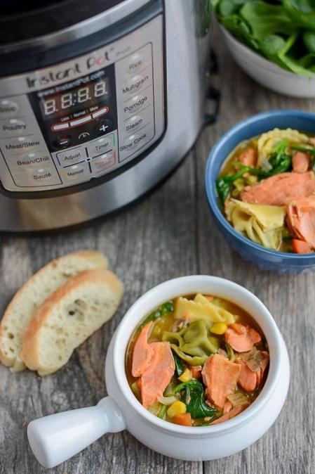 Instant Pot Salmon Tortellini Soup