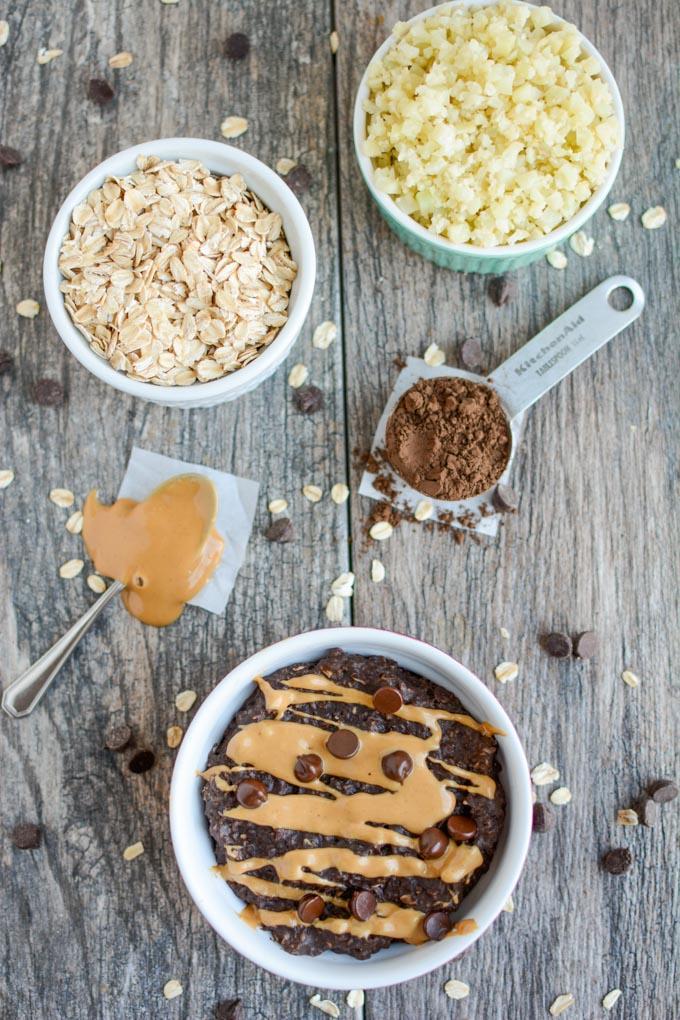 Chocolate Peanut Butter Cauliflower Oatmeal - perfect for breakfast!