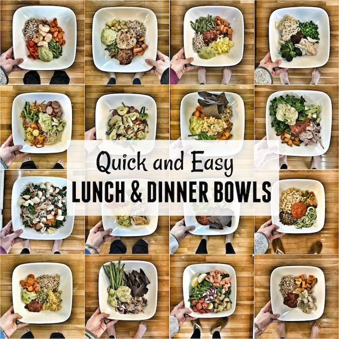 These easy lunch bowls also make quick, healthy options for dinner. They're simple, come together quickly and are packed with vegetables, lean proteins and healthy fats.