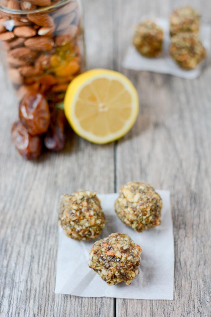 Lemon Energy Balls made with dates and pepitas